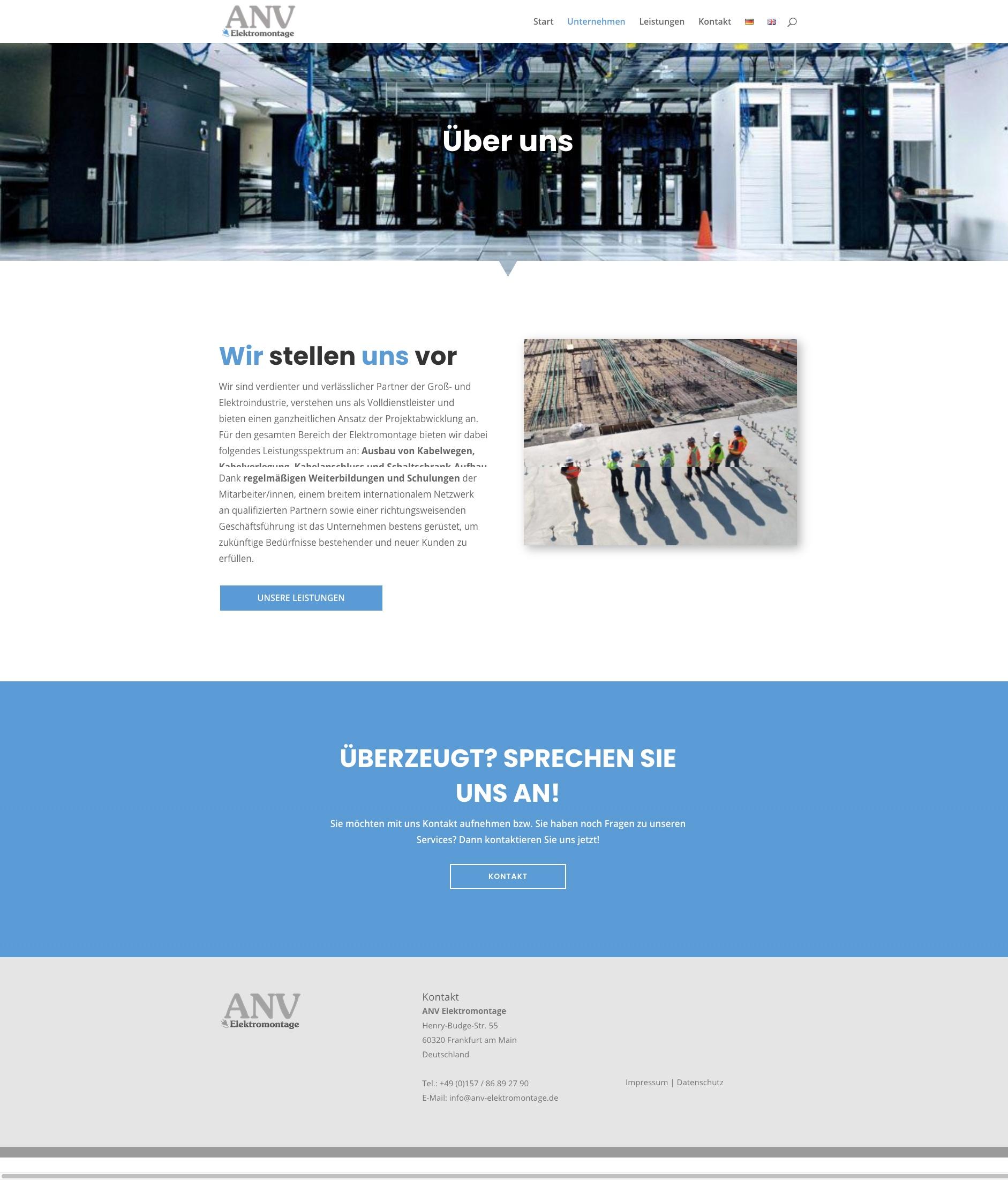Referenz Webseite ANV
