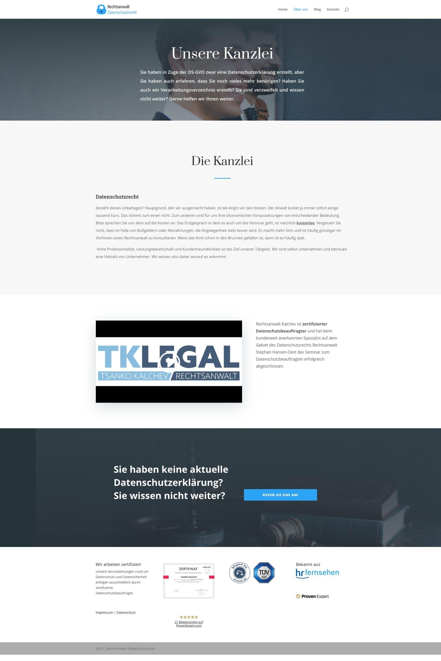 Referenz Webseite Datenschutz Kanzlei