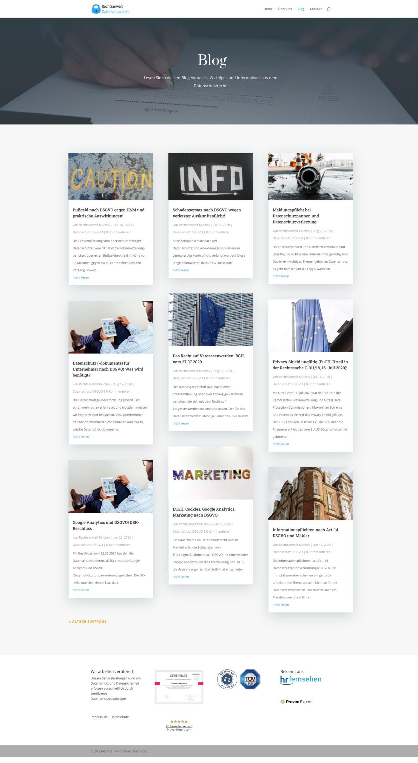Referenz Webseite Datenschutz Blog